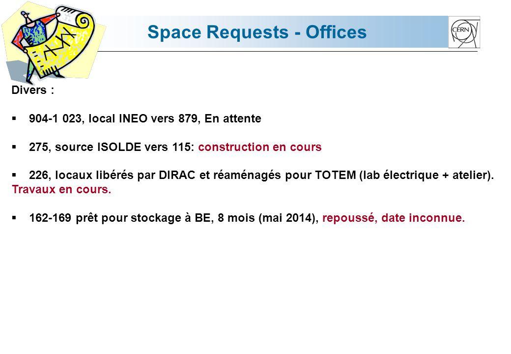 Space Requests - Offices Divers : Bat 602, prévu pour le mouvement du 54/3.