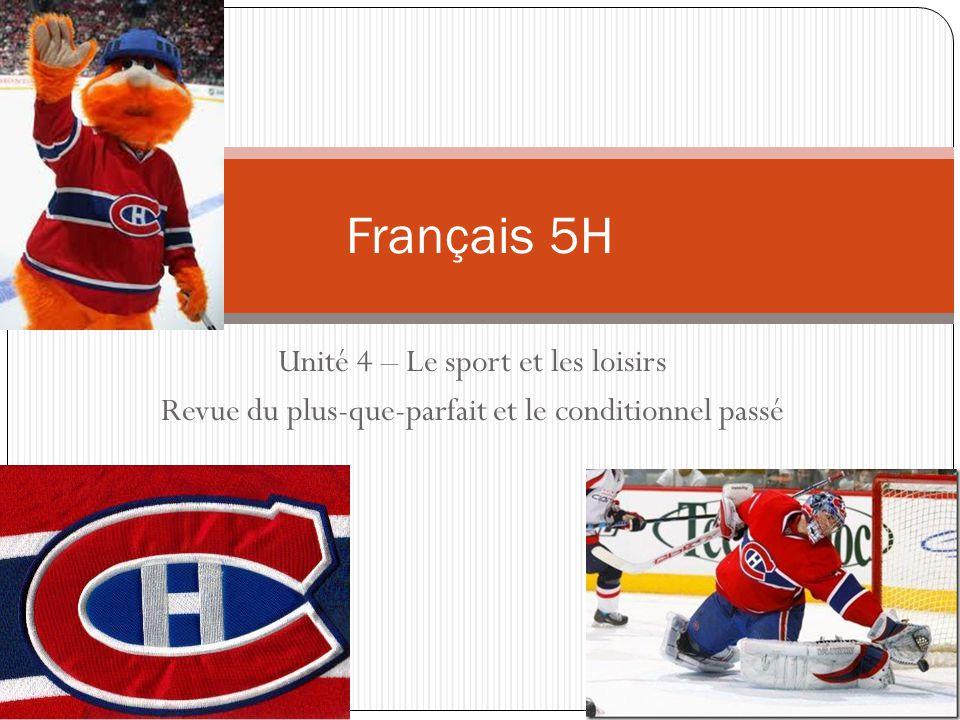 Unité 4 – Le sport et les loisirs Revue du plus-que-parfait et le conditionnel passé Français 5H