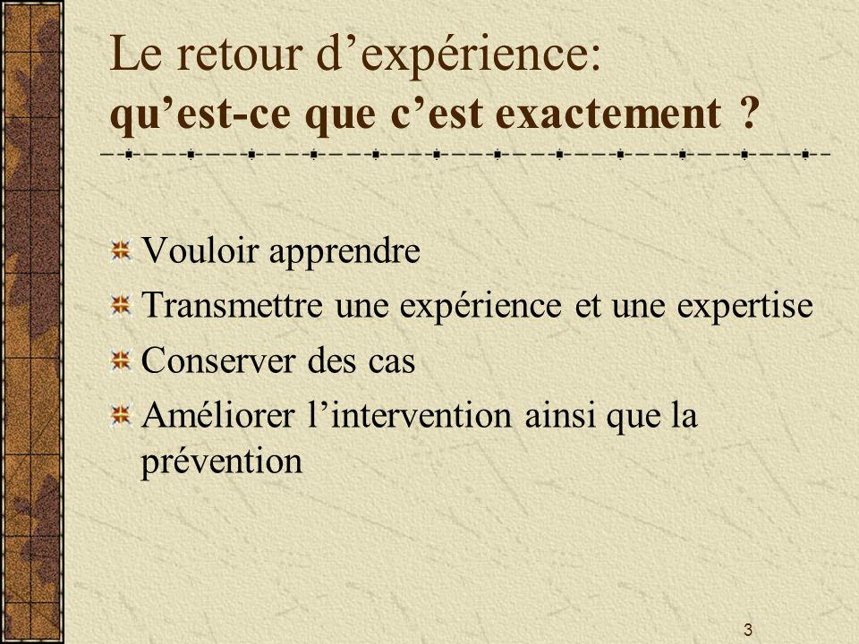 3 Le retour d'expérience: qu'est-ce que c'est exactement ? Vouloir apprendre Transmettre une expérience et une expertise Conserver des cas Améliorer l