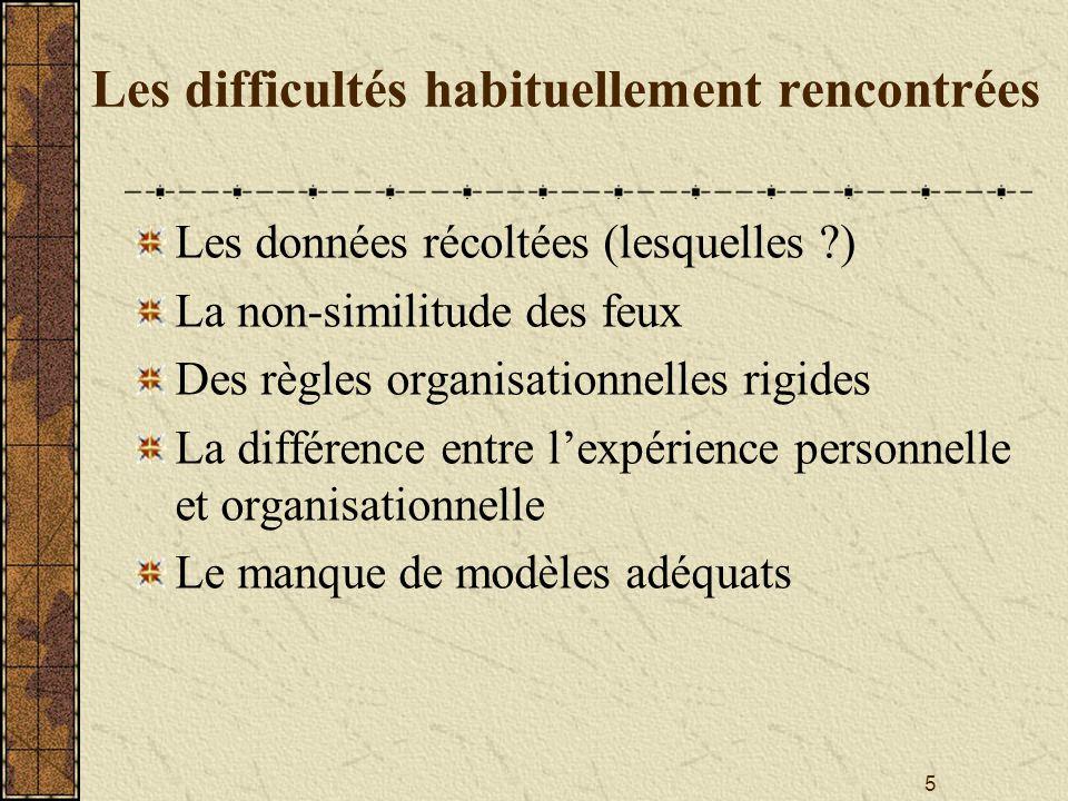 5 Les difficultés habituellement rencontrées Les données récoltées (lesquelles ?) La non-similitude des feux Des règles organisationnelles rigides La