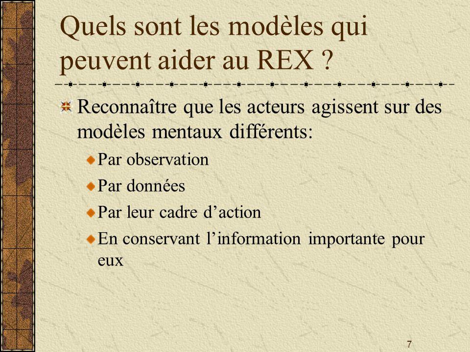 7 Quels sont les modèles qui peuvent aider au REX ? Reconnaître que les acteurs agissent sur des modèles mentaux différents: Par observation Par donné