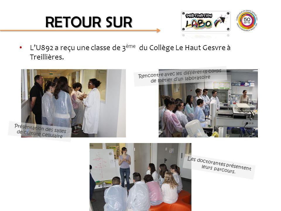 L'U892 a reçu une classe de 3 ème du Collège Le Haut Gesvre à Treillières. Présentation des salles de culture cellulaire Rencontre avec les différents