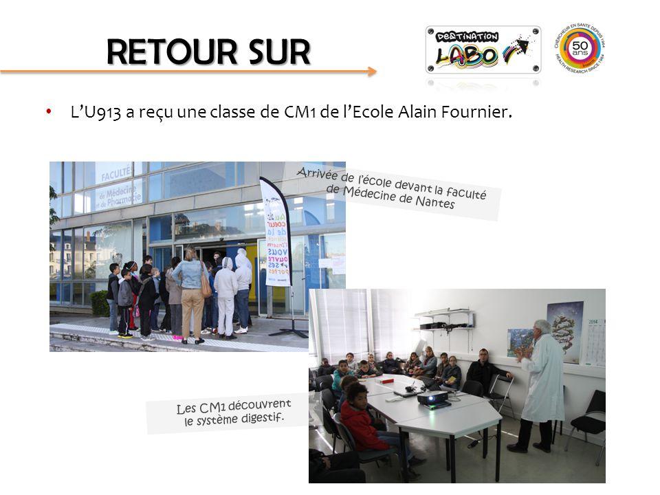 L'U913 a reçu une classe de CM1 de l'Ecole Alain Fournier. RETOUR SUR Arrivée de l'école devant la faculté de Médecine de Nantes Les CM1 découvrent le