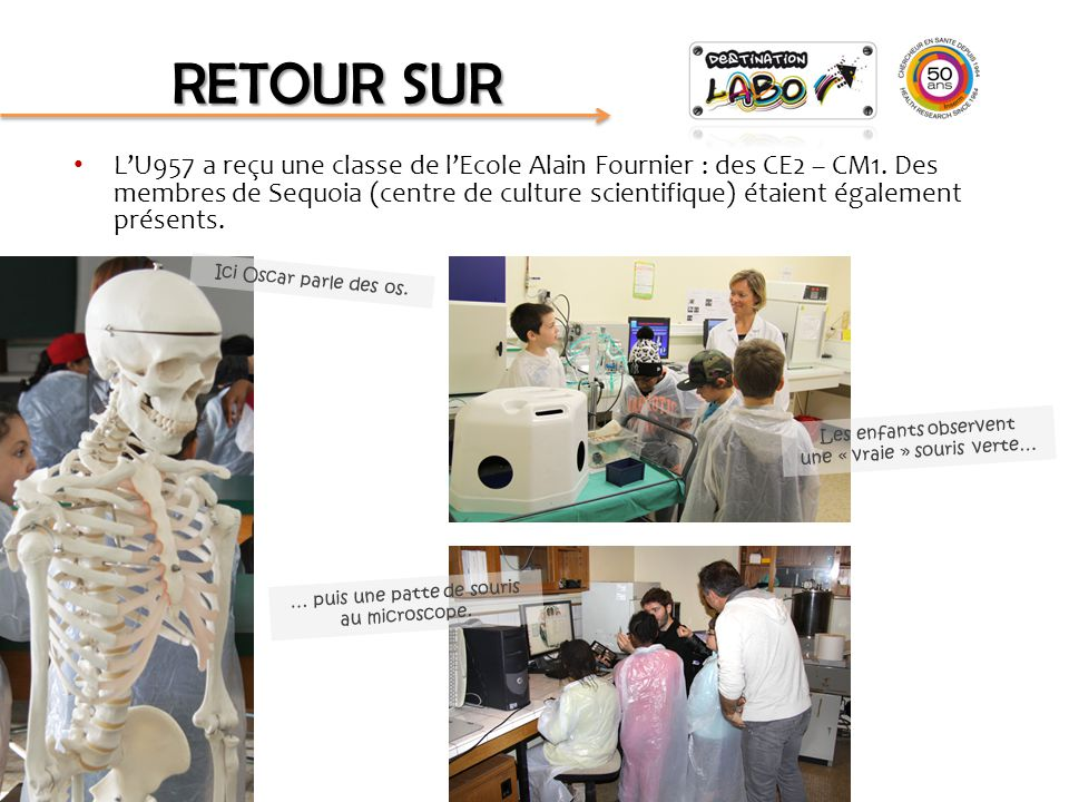 L'U1087 a reçu une classe de CM1 de l'Ecole Alain Fournier.