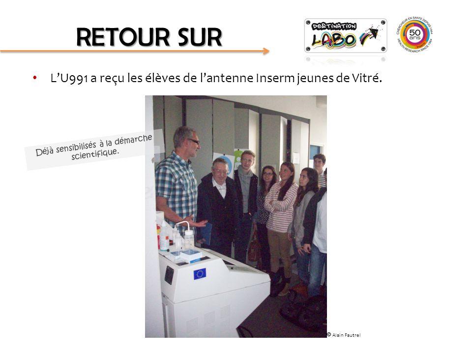 L'U991 a reçu les élèves de l'antenne Inserm jeunes de Vitré. RETOUR SUR Déjà sensibilisés à la démarche scientifique.  Alain Fautrel
