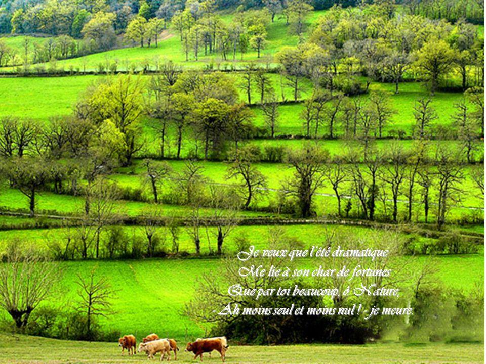 Je veux que l'été dramatique Me lie à son char de fortunes Me lie à son char de fortunes Que par toi beaucoup, ô Nature, Que par toi beaucoup, ô Nature, - Ah moins seul et moins nul .