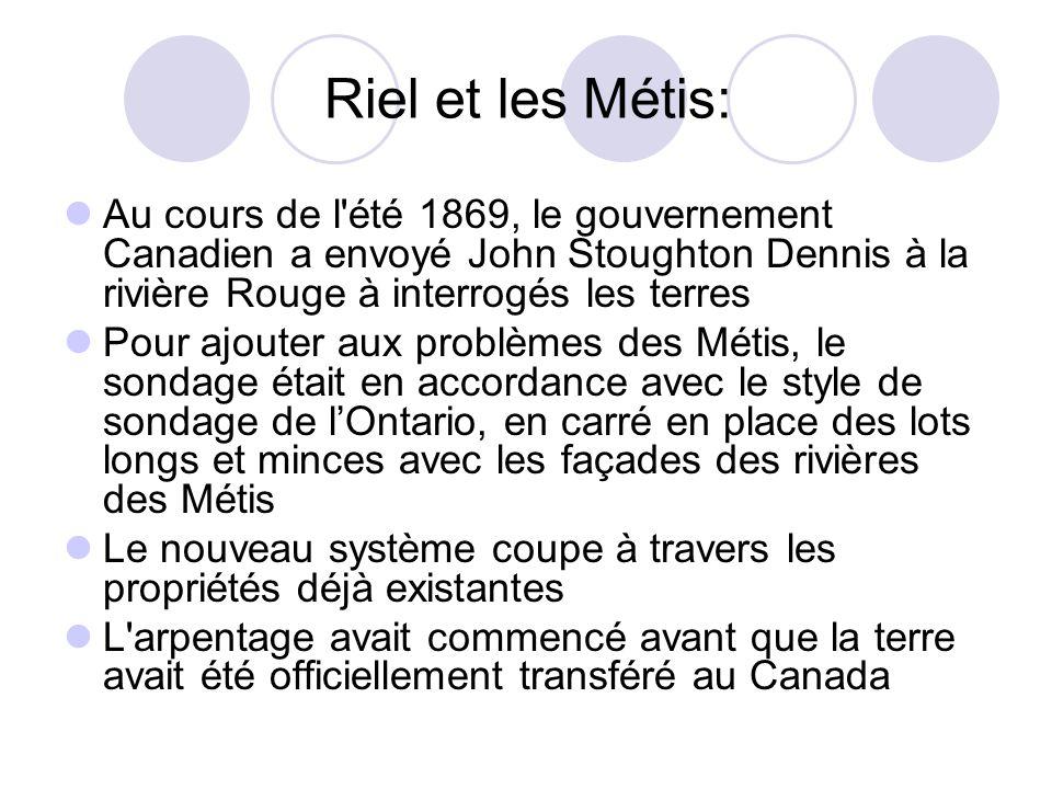 Au cours de l'été 1869, le gouvernement Canadien a envoyé John Stoughton Dennis à la rivière Rouge à interrogés les terres Pour ajouter aux problèmes
