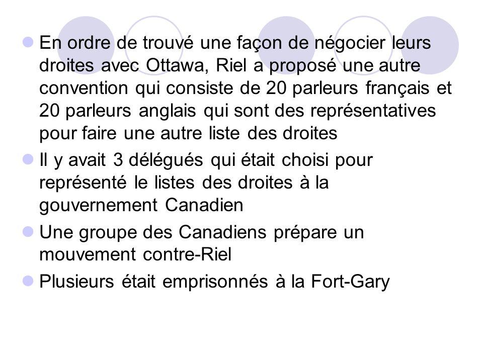 En ordre de trouvé une façon de négocier leurs droites avec Ottawa, Riel a proposé une autre convention qui consiste de 20 parleurs français et 20 par