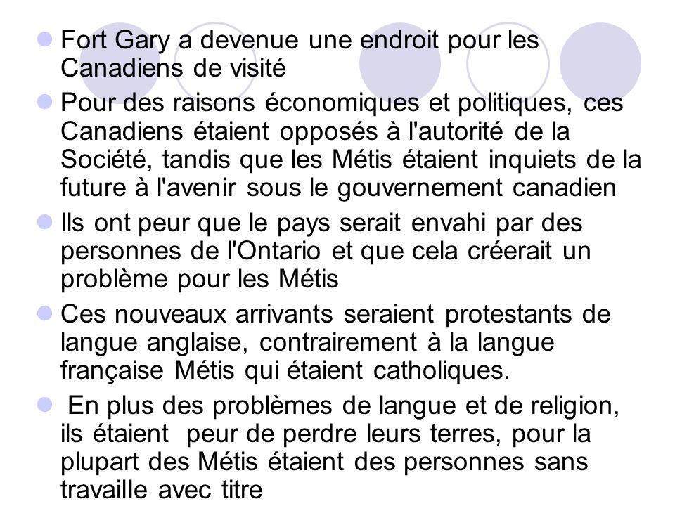 Fort Gary a devenue une endroit pour les Canadiens de visité Pour des raisons économiques et politiques, ces Canadiens étaient opposés à l'autorité de