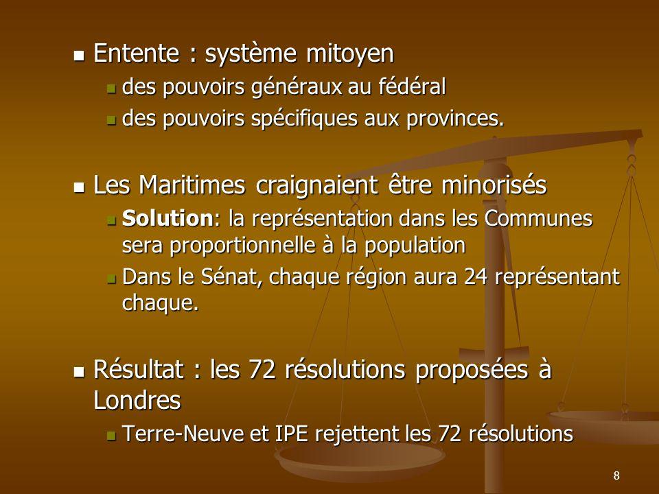 9 3.Londres (décembre 1866) : Participants : Canada-Uni, Nouvelle-Écosse, Nouveau-Brunswick et le parlement de Londres Participants : Canada-Uni, Nouvelle-Écosse, Nouveau-Brunswick et le parlement de Londres Ils ajoutent dans le texte constitutionnel une clause qui promet la construction du chemin de fer intercolonial (pour apaiser les Maritimes).