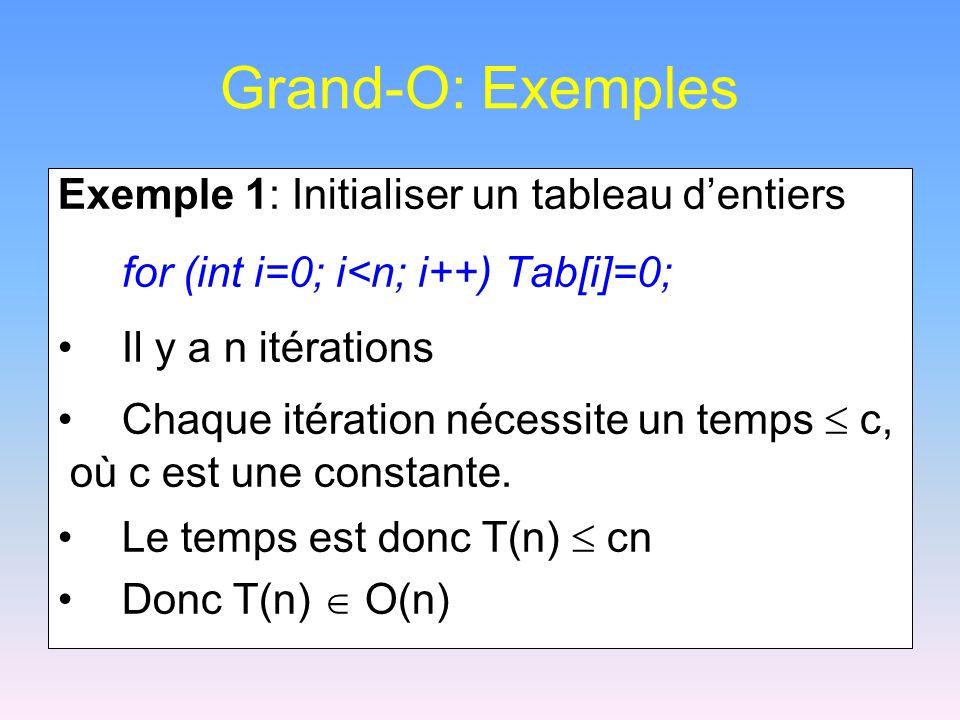 Grand-O: Exemples Exemple 1: Initialiser un tableau d'entiers for (int i=0; i<n; i++) Tab[i]=0; Il y a n itérations Chaque itération nécessite un temps  c, où c est une constante.