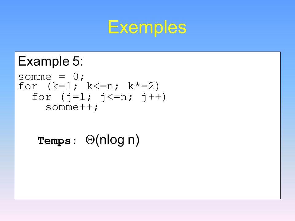 Exemples Example 5: somme = 0; for (k=1; k<=n; k*=2) for (j=1; j<=n; j++) somme++; Temps:  (nlog n)