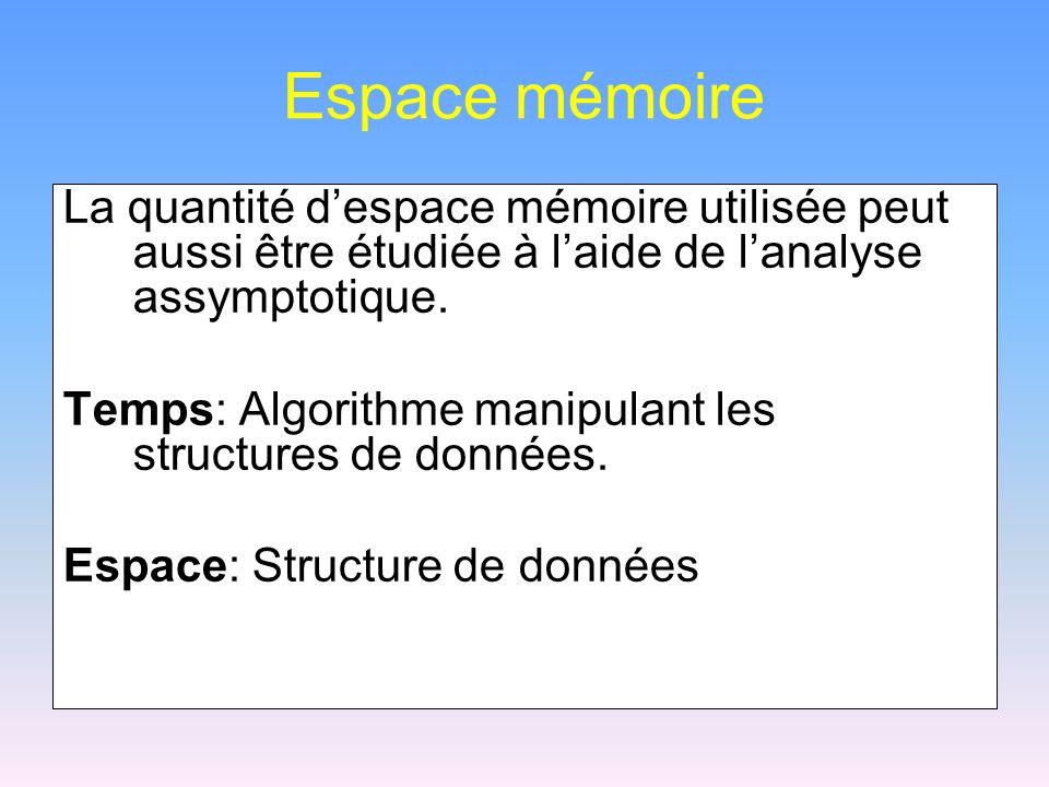 Espace mémoire La quantité d'espace mémoire utilisée peut aussi être étudiée à l'aide de l'analyse assymptotique.