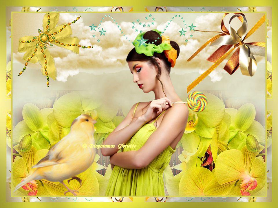 Des rubans de soie, des parures fleuries Un manteau d'ivoire sous le ciel rieur Des sourires, du plaisir et des gazouillis La nuit rayonne de toute sa splendeur.
