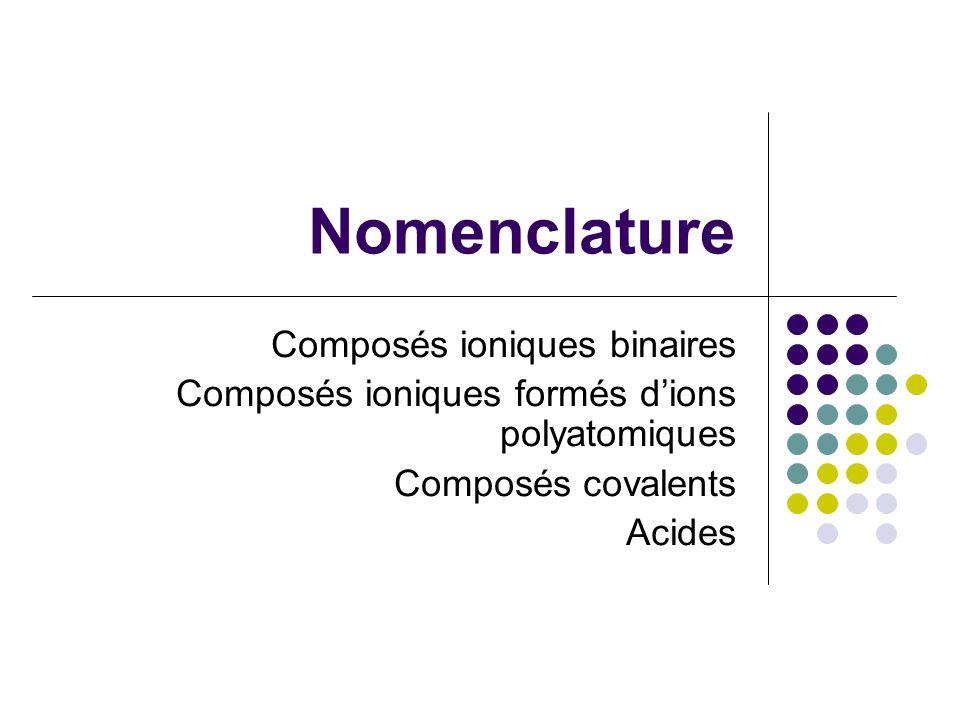 Nomenclature Composés ioniques binaires Composés ioniques formés d'ions polyatomiques Composés covalents Acides