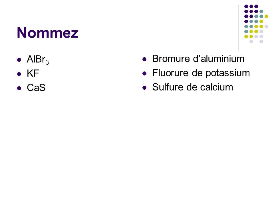 Nommez AlBr 3 KF CaS Bromure d'aluminium Fluorure de potassium Sulfure de calcium