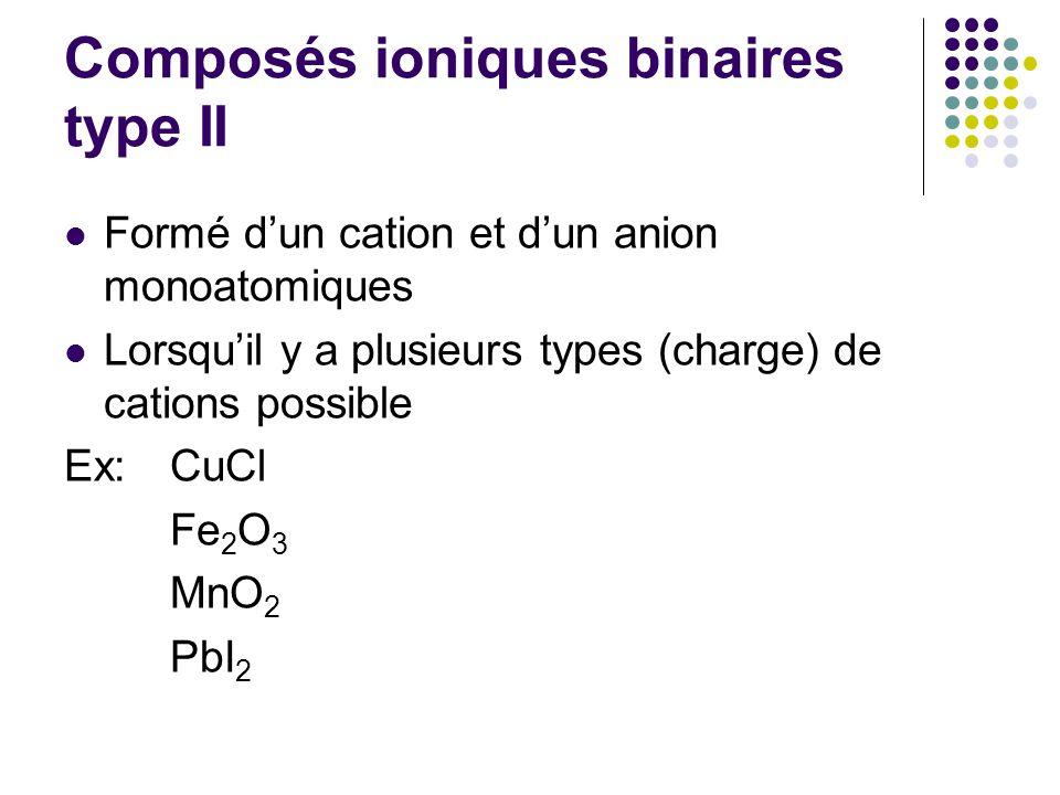 Composés ioniques binaires type II Formé d'un cation et d'un anion monoatomiques Lorsqu'il y a plusieurs types (charge) de cations possible Ex:CuCl Fe 2 O 3 MnO 2 PbI 2