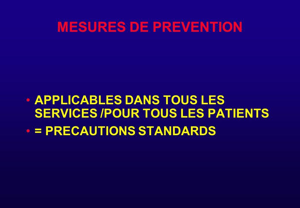 MESURES DE PREVENTION APPLICABLES DANS TOUS LES SERVICES /POUR TOUS LES PATIENTS = PRECAUTIONS STANDARDS