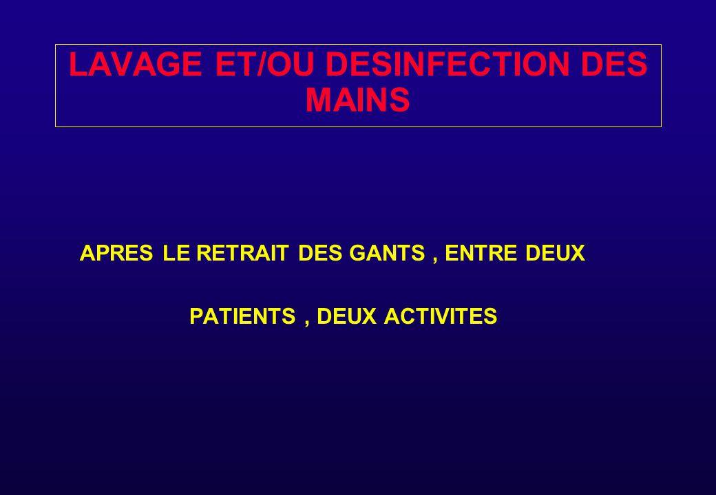 LAVAGE ET/OU DESINFECTION DES MAINS APRES LE RETRAIT DES GANTS, ENTRE DEUX PATIENTS, DEUX ACTIVITES