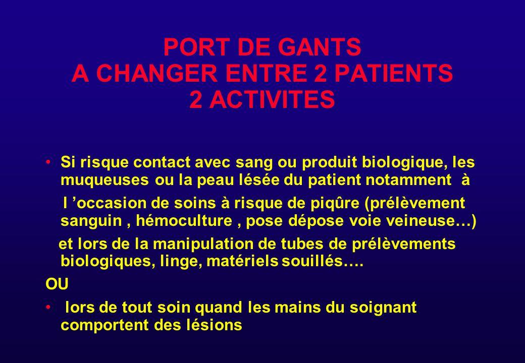 PORT DE GANTS A CHANGER ENTRE 2 PATIENTS 2 ACTIVITES Si risque contact avec sang ou produit biologique, les muqueuses ou la peau lésée du patient nota