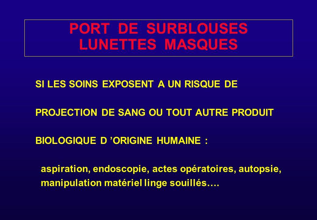 PORT DE SURBLOUSES LUNETTES MASQUES SI LES SOINS EXPOSENT A UN RISQUE DE PROJECTION DE SANG OU TOUT AUTRE PRODUIT BIOLOGIQUE D 'ORIGINE HUMAINE : aspi