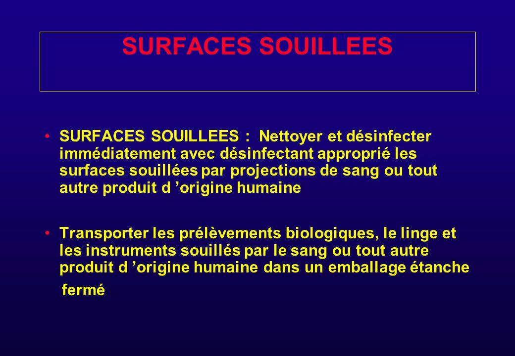 TRANSPORT DE PRELEVEMENTS BIOLOGIQUES,LINGE,MATERIELS SOUILLES TRANSPORTER LES PRELEVEMENTS BIOLOGIQUES LE LINGE ET LES INSTRUMENTS SOUILLES DE SANG OU TOUT AUTRE PRODUIT BIOLOGIQUE DANS UN EMBALLAGE ETANCHE FERME