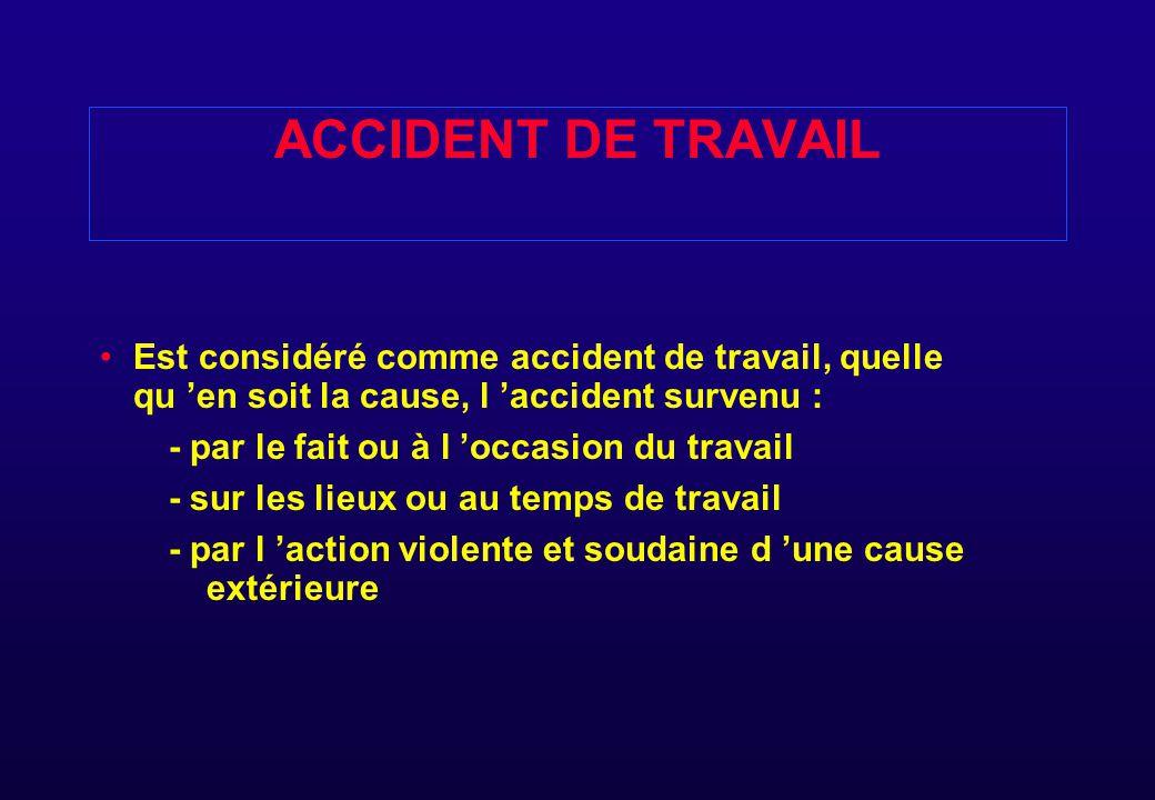 ACCIDENT DE TRAJET L 'ACCIDENT DE TRAJET ( TRAVAIL  DOMICILE ) POUR ALLER ET REVENIR DU TRAVAIL EST PRIS EN CHARGE COMME AT