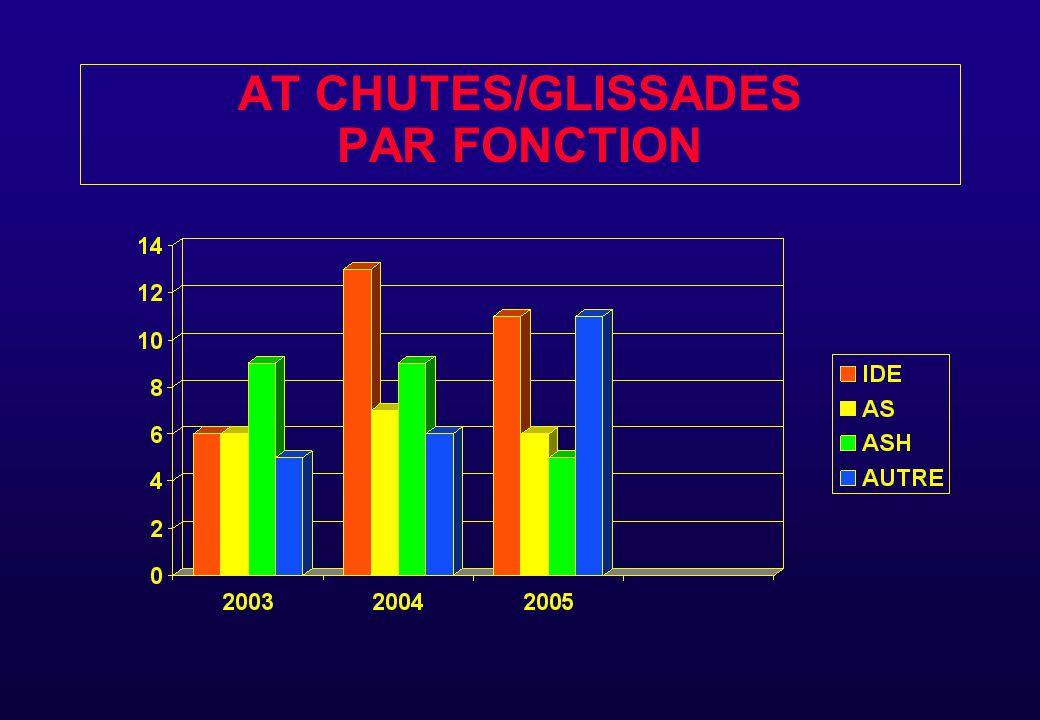 AT LIES AUX CHUTES - GLISSADES 2005 33 AT DONT 23 AVEC ARRET (558 J) avec en moyenne 24 J d 'ARRET PAR AT avec arrêt EN FONCTION DES SITES : - Montimaran 25 AT - Perreal 4 AT - Psychiatrie 4 AT - IFSI 0 AT