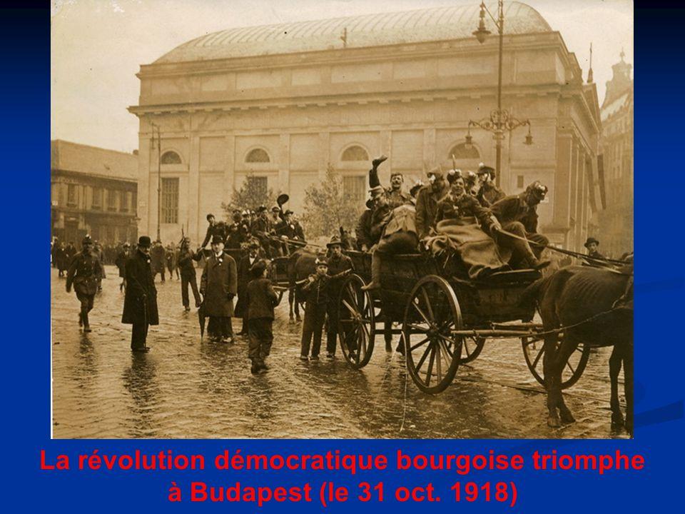 La révolution démocratique bourgoise triomphe à Budapest (le 31 oct. 1918)