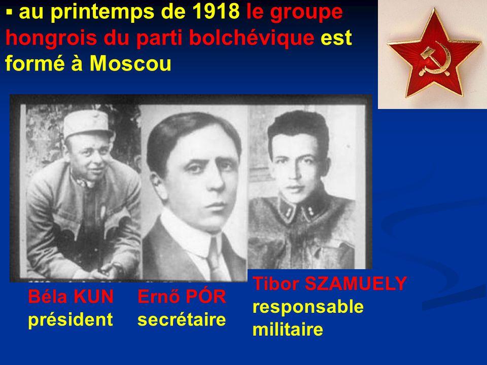  au printemps de 1918 le groupe hongrois du parti bolchévique est formé à Moscou Béla KUN président Ernő PÓR secrétaire Tibor SZAMUELY responsable militaire
