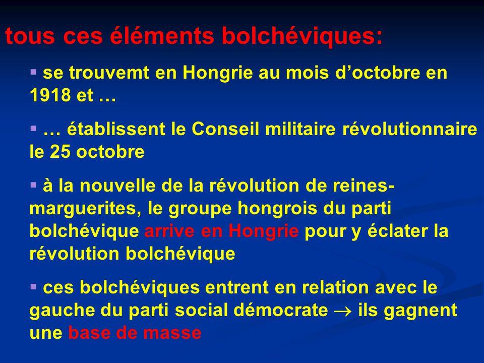 tous ces éléments bolchéviques:  se trouvemt en Hongrie au mois d'octobre en 1918 et …  … établissent le Conseil militaire révolutionnaire le 25 octobre  à la nouvelle de la révolution de reines- marguerites, le groupe hongrois du parti bolchévique arrive en Hongrie pour y éclater la révolution bolchévique  ces bolchéviques entrent en relation avec le gauche du parti social démocrate  ils gagnent une base de masse
