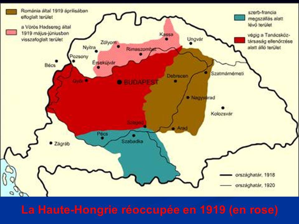 La Haute-Hongrie réoccupée en 1919 (en rose)