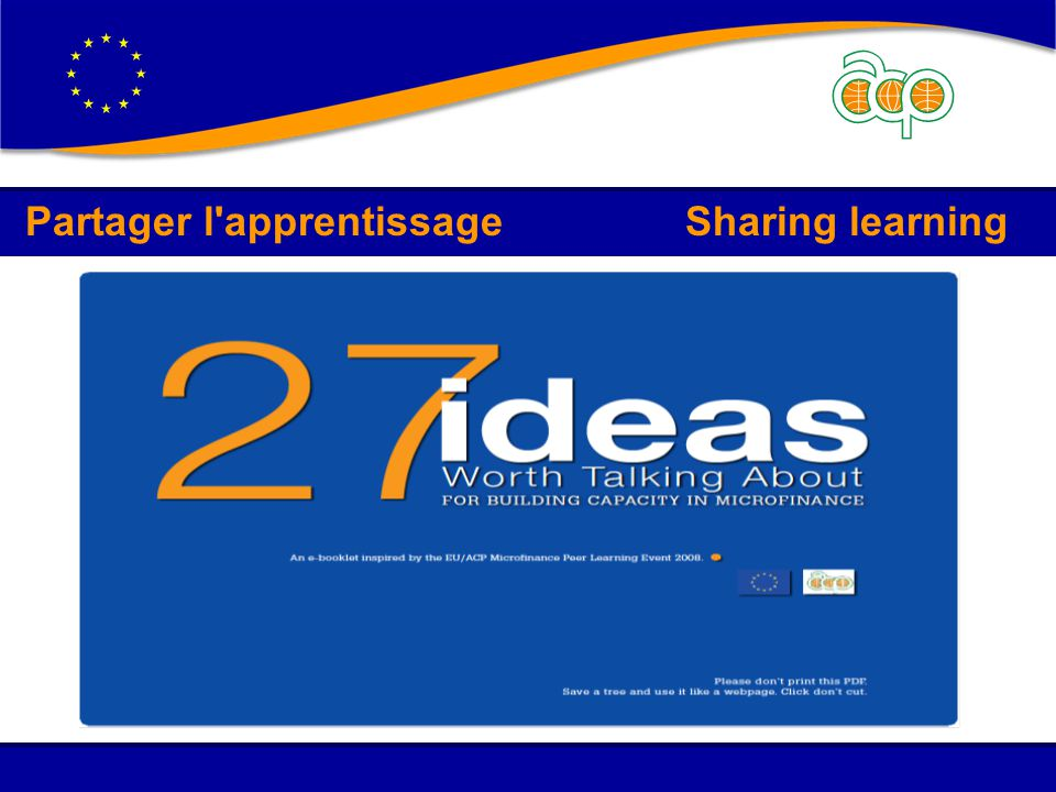 Partager l'apprentissage Sharing learning
