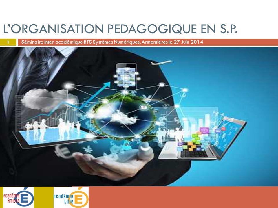 Séminaire Inter académique BTS Systèmes Numériques, Armentières le 27 Juin 2014 L'ORGANISATION PEDAGOGIQUE EN S.P. 1