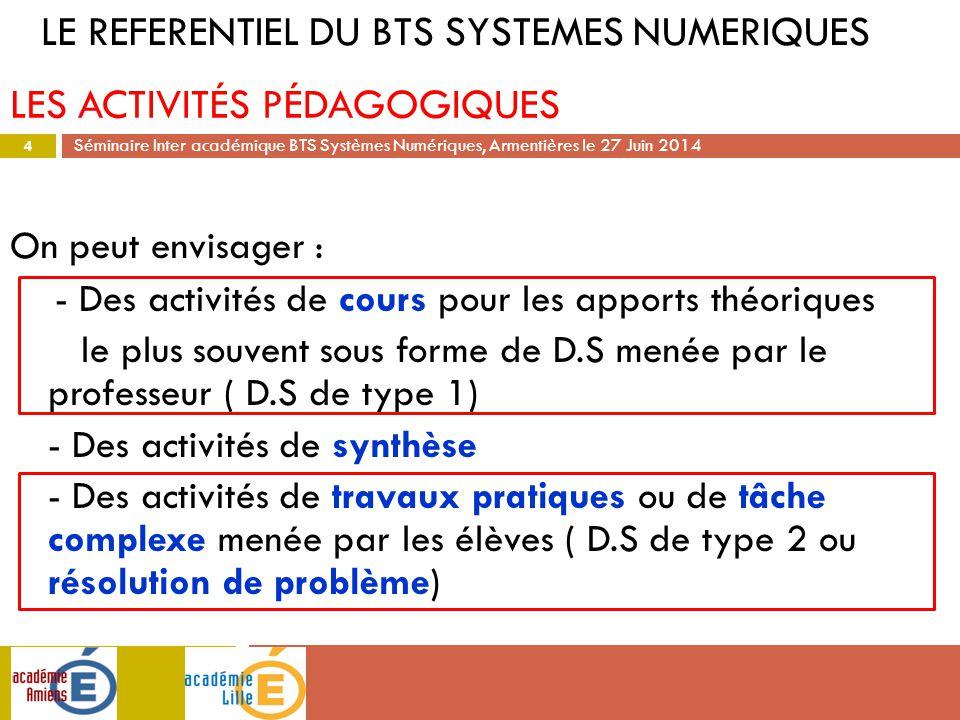 Séminaire Inter académique BTS Systèmes Numériques, Armentières le 27 Juin 2014 On peut envisager : - Des activités de cours pour les apports théoriqu