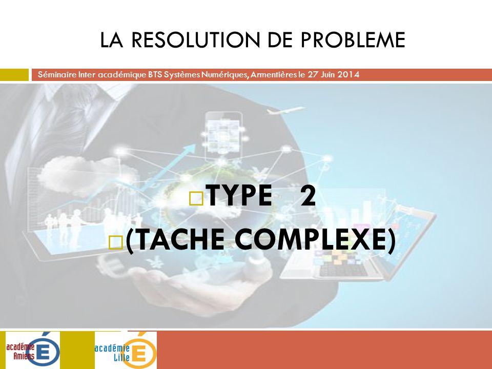 Séminaire Inter académique BTS Systèmes Numériques, Armentières le 27 Juin 2014 LA RESOLUTION DE PROBLEME  TYPE 2  (TACHE COMPLEXE)