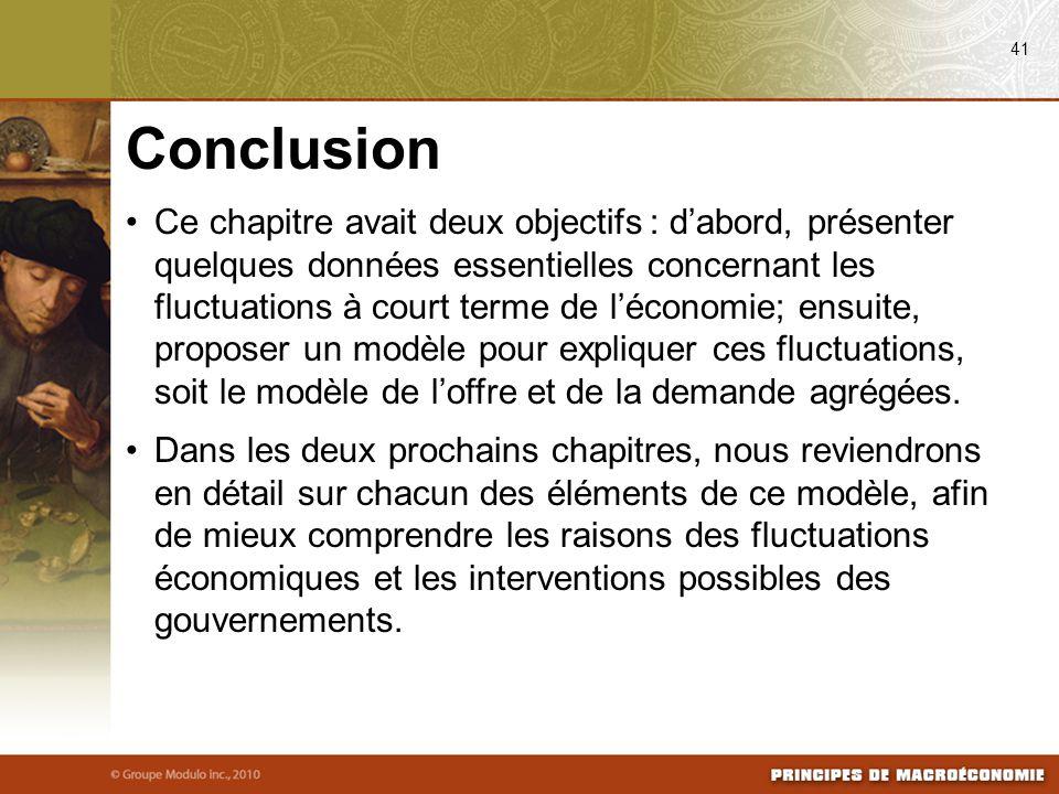 Ce chapitre avait deux objectifs : d'abord, présenter quelques données essentielles concernant les fluctuations à court terme de l'économie; ensuite,