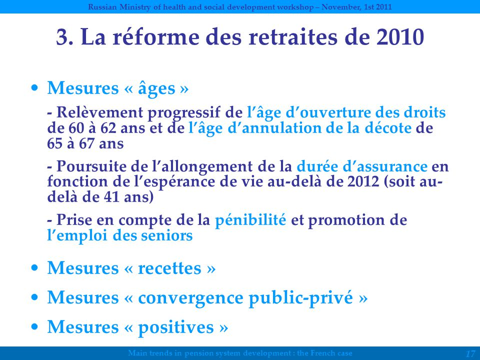 Main trends in pension system development : the French case Russian Ministry of health and social development workshop – November, 1st 2011 3. La réfo