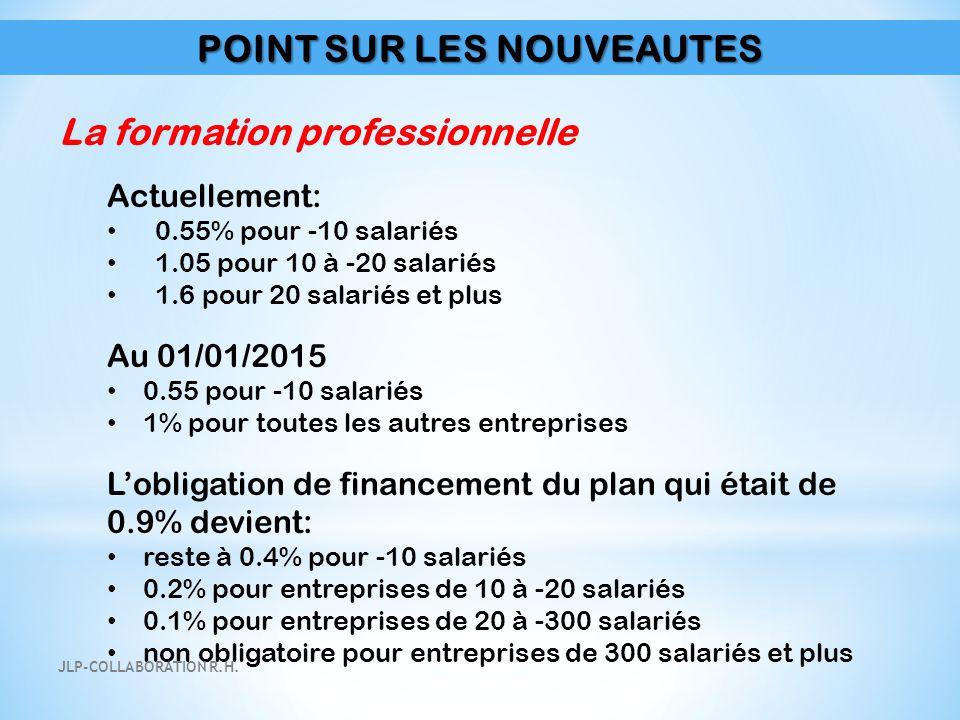 POINT SUR LES NOUVEAUTES La formation professionnelle Actuellement: 0.55% pour -10 salariés 1.05 pour 10 à -20 salariés 1.6 pour 20 salariés et plus A