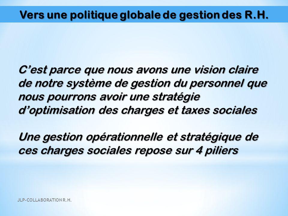 Vers une politique globale de gestion des R.H. C'est parce que nous avons une vision claire de notre système de gestion du personnel que nous pourrons