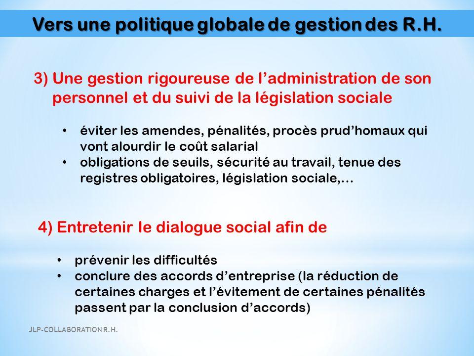 Vers une politique globale de gestion des R.H. 3) Une gestion rigoureuse de l'administration de son personnel et du suivi de la législation sociale év
