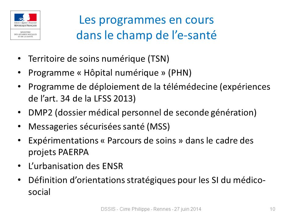 Les programmes en cours dans le champ de l'e-santé Territoire de soins numérique (TSN) Programme « Hôpital numérique » (PHN) Programme de déploiement