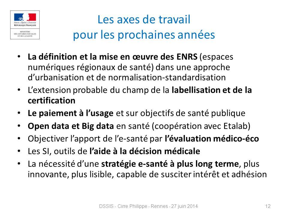Les axes de travail pour les prochaines années La définition et la mise en œuvre des ENRS (espaces numériques régionaux de santé) dans une approche d'