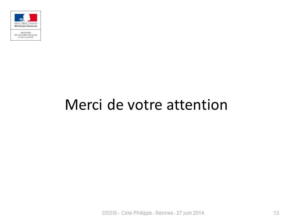 Merci de votre attention DSSIS - Cirre Philippe - Rennes - 27 juin 201413