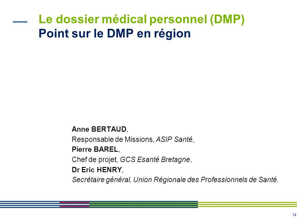 14 Le dossier médical personnel (DMP) Point sur le DMP en région Anne BERTAUD, Responsable de Missions, ASIP Santé, Pierre BAREL, Chef de projet, GCS