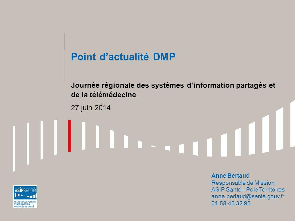 Point d'actualité DMP Journée régionale des systèmes d'information partagés et de la télémédecine 27 juin 2014 Anne Bertaud Responsable de Mission ASI