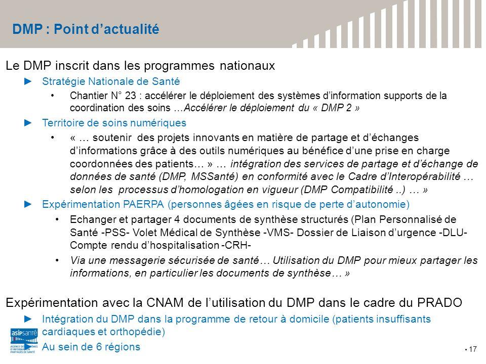 DMP : Point d'actualité Le DMP inscrit dans les programmes nationaux ►Stratégie Nationale de Santé Chantier N° 23 : accélérer le déploiement des systè