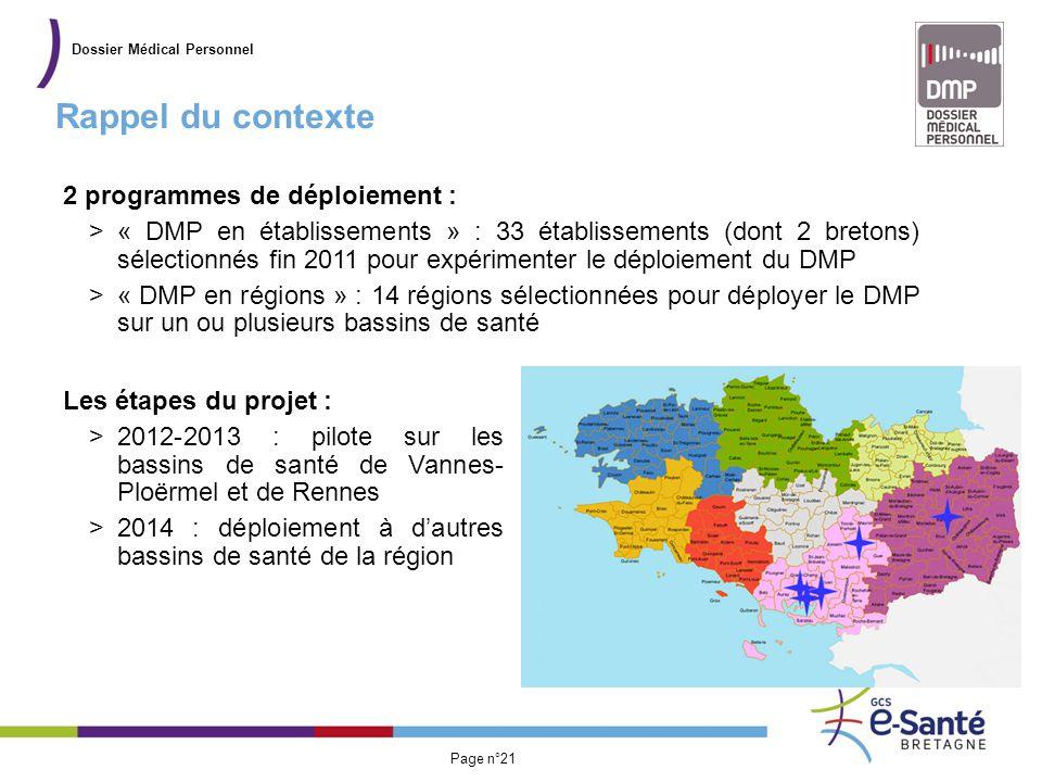 Présentation du GCS Page n°21 Rappel du contexte Dossier Médical Personnel Les étapes du projet : >2012-2013 : pilote sur les bassins de santé de Vann