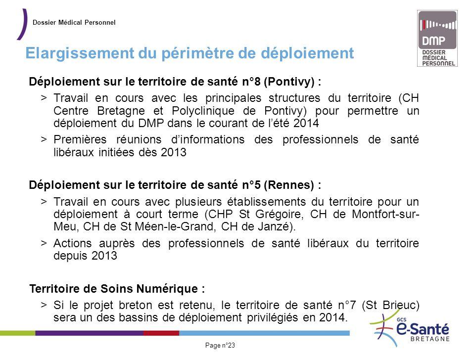Présentation du GCS Page n°23 Elargissement du périmètre de déploiement Dossier Médical Personnel Déploiement sur le territoire de santé n°8 (Pontivy)