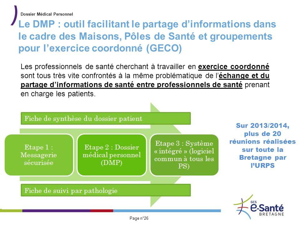 Présentation du GCS Page n°26 Le DMP : outil facilitant le partage d'informations dans le cadre des Maisons, Pôles de Santé et groupements pour l'exer